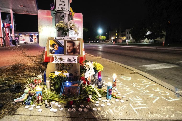A memorial for Anthony Huber and Joseph Rosenbaum stands in Kenosha, Wis., on Sept. 1, 2020.