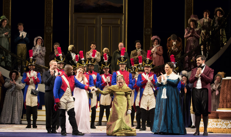 """Ruth Bader Ginsburg's opening-night-only cameo as the Duchess of Krakenthorp in the Washington National Opera's production of \""""Daughter of the Regiment\"""" at the Kennedy Center on Nov. 14, 2016."""