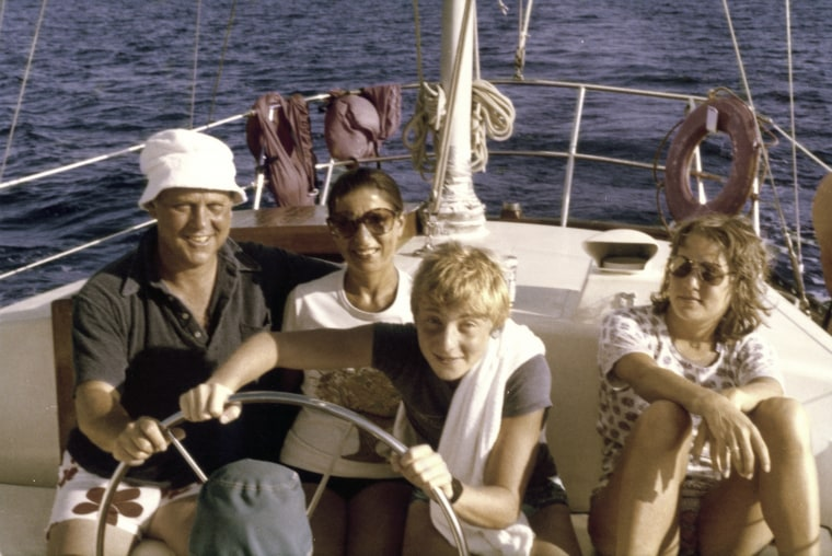 Ruth Bader Ginsburg, her husband Martin Ginsburg, and their children Jane and James off the coast of St. Thomas in 1979.