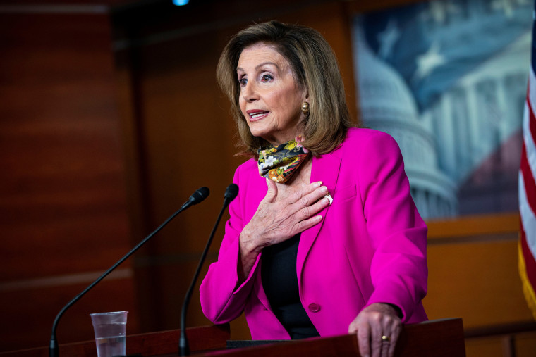 Image: U.S. House Speaker Nancy Pelosi (D-CA) speaks during a news conference on Capitol Hill