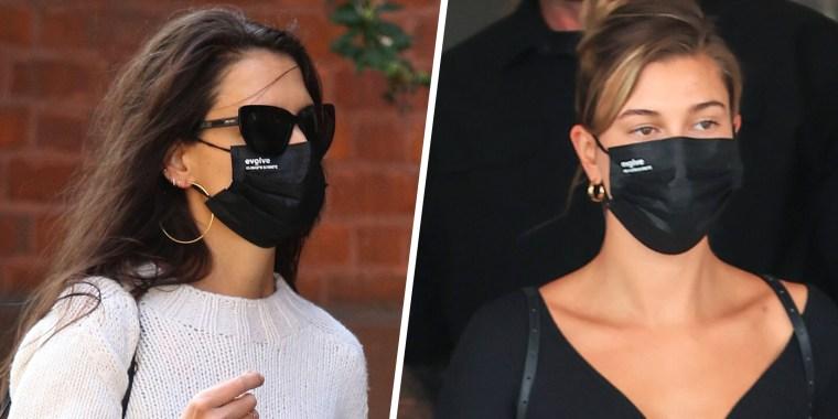 katie holmes hailey bieber face masks