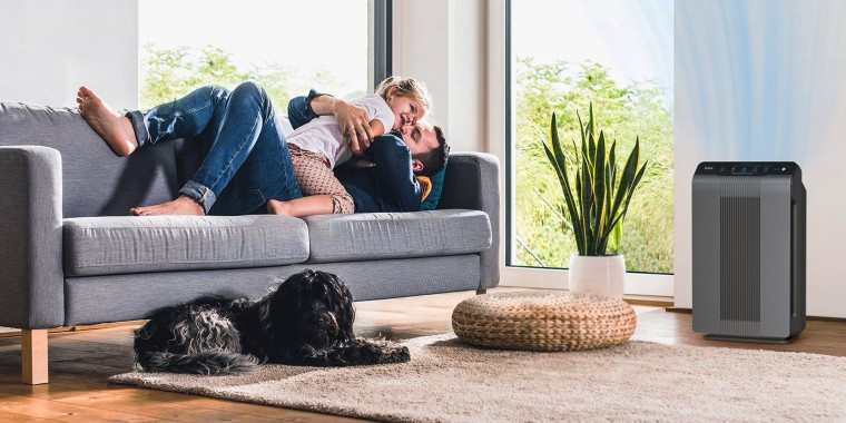 father and child in living room with air purifier and dog