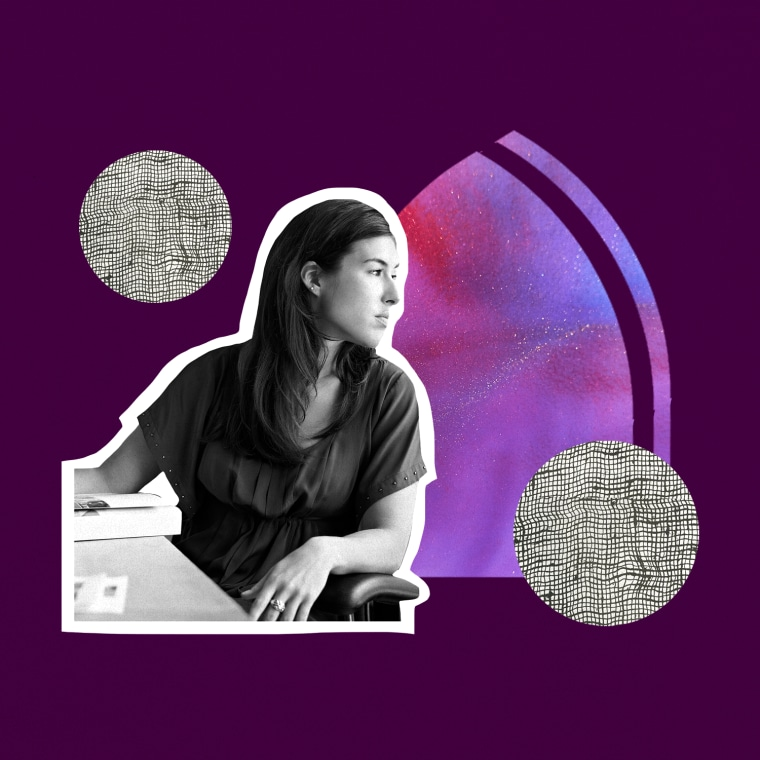 photo illustration of woman looking out of window in square
