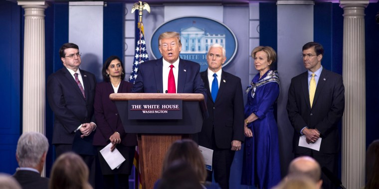 President Donald Trump speaks during a Coronavirus Task Force briefing at the White House on March 18, 2020.