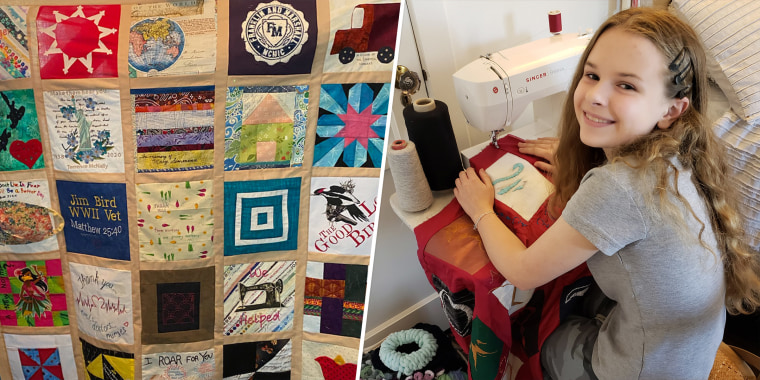Madeleine Fugate hopes her quilt provides comfort to those who are suffering during the pandemic.