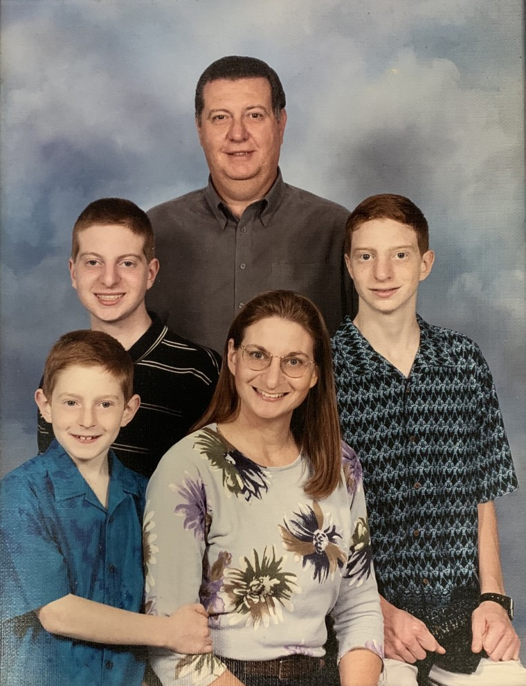 Jane Clementi with her three sons - Brian, James and Tyler - and husband Joseph.
