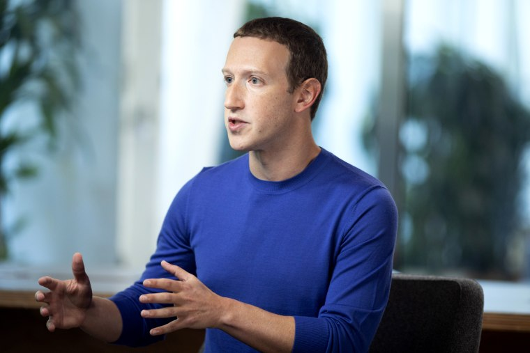Image: Mark Zuckerberg speaks during an interview with Lester Holt at Facebook's Menlo Park headquarters in Calif., on Oct. 20, 2019.