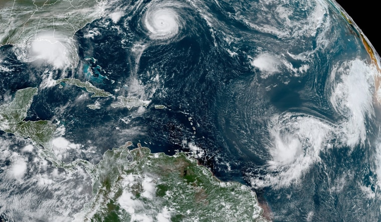 Image: The storms, from left, are Hurricane Sally over the Gulf of Mexico, Hurricane Paulette over Bermuda, the remnants of Tropical Storm Rene, and Tropical Storms Teddy and Vicky.