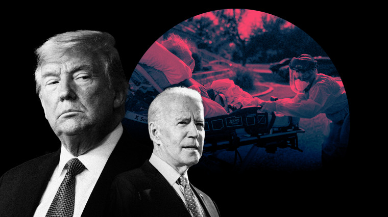 Image: President Donald Trump; Joe Biden; and a photo of a nursing home patient being wheeled into a hospital.