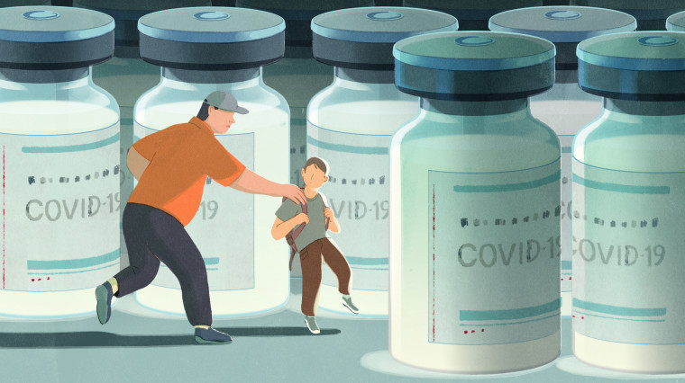 Image: a child wearing a backpack is pulled away from COVID vaccine vials by his father.