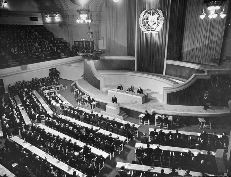 IMage: The first meeting of the U.N. Organization's General Assembly in the Methodist Church's Central Hall
