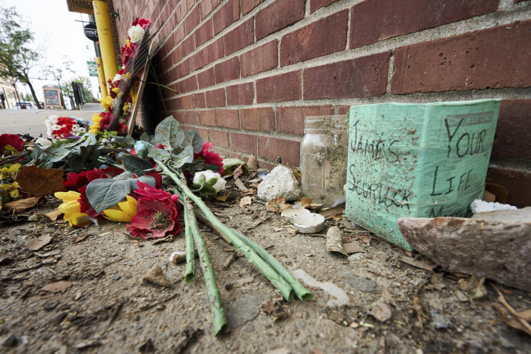 A memorial for James Scurlock on Sept. 16 near where he was shot and killed May 30 in Omaha, Neb.