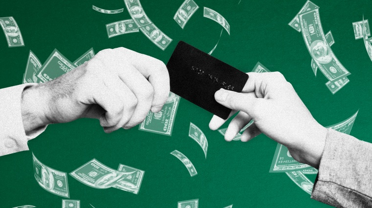 Image: Hands exchange a credit or debit card as money falls against a green background.