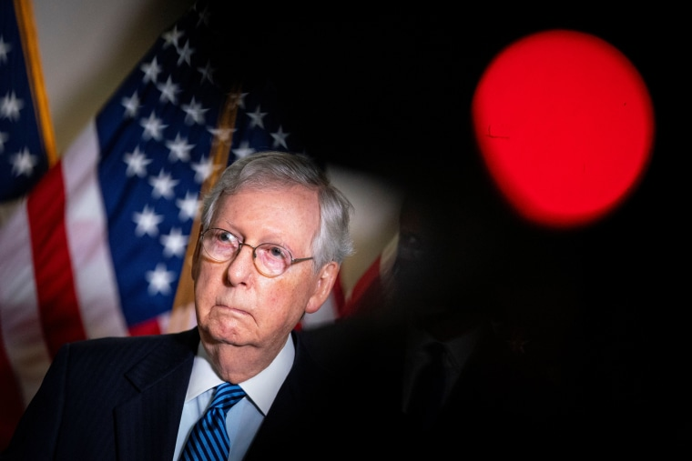 Image: Senate Majority Leader Mitch McConnell (R-KY) speaks to reporters after the Senate Republican luncheon on Capitol Hill