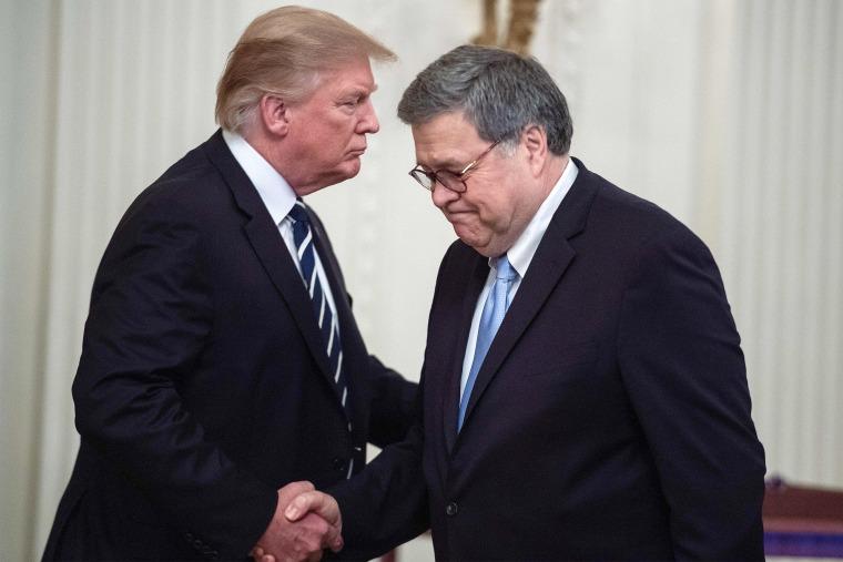 Image: Donald Trump, William Barr, handshake
