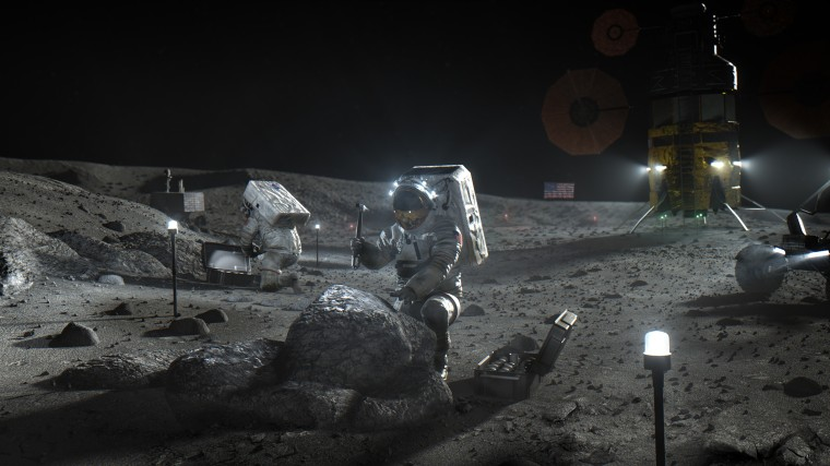 An artist's depiction of astronauts working on the moon as part of NASA's Artemis program.