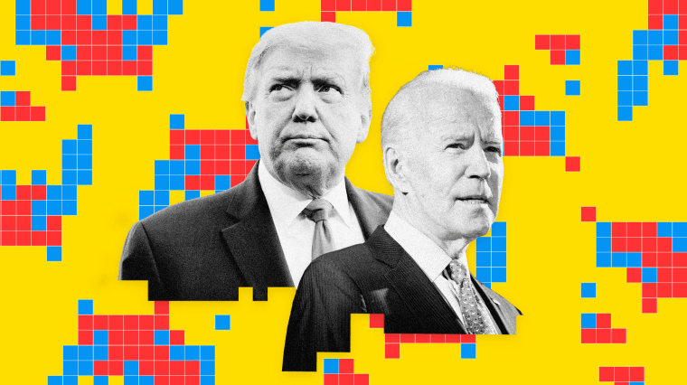 Image: Donald Trump and Joe Biden on a background of repeating United States map made of red and blue squares.