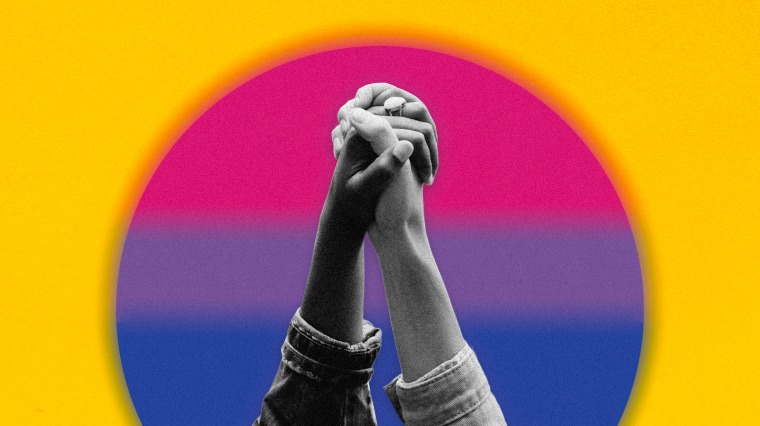 Image: Clasped hands are raised in front of a rising sun overlayed with the bisexual pride flag.