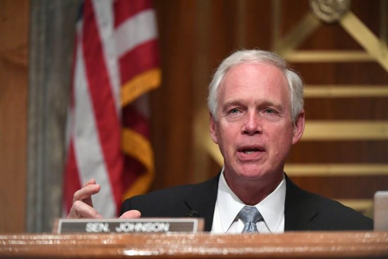 Image: Senator Ron Johnson (R-WI) at Senate committee hearing in Washington.