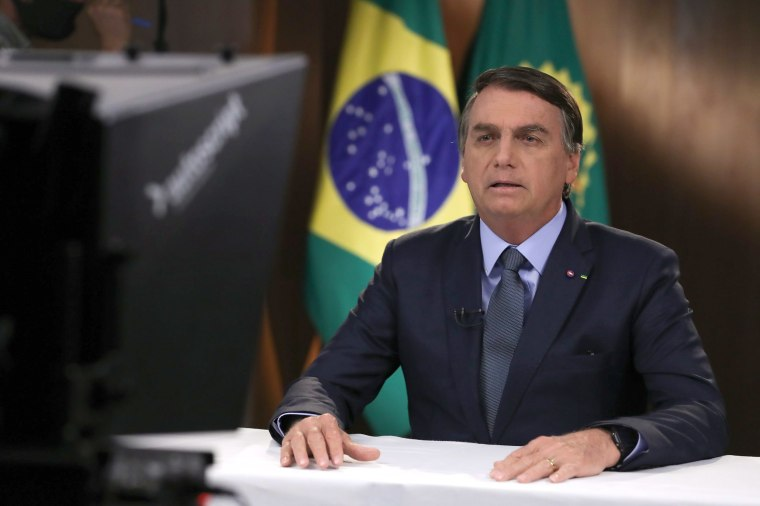 Image: Brazil's President Jair Bolsonaro recording a speech for the 75th General Assembly of the United Nations Council in Brasilia