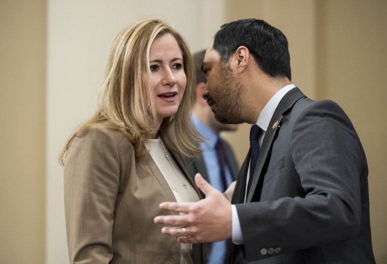 Rep. Debbie Mucarsel-Powell, D-Fla., speaks with Rep. Joaquin Castro, D-Texas, on Capitol Hill
