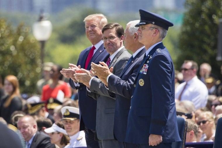 Donald Trump,Mark Esper,Paul Selva,Mike Pence