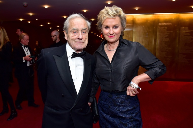 Image: Sir Harold Evans and Tina Brown attend the 2018 TIME 100 Gala at Jazz at Lincoln Center in New York City.