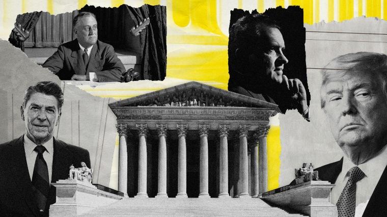 Image: Presidents Ronald Reagan, Franklin D. Roosevelt, Richard Nixon and Donald Trump behind the Supreme Court.