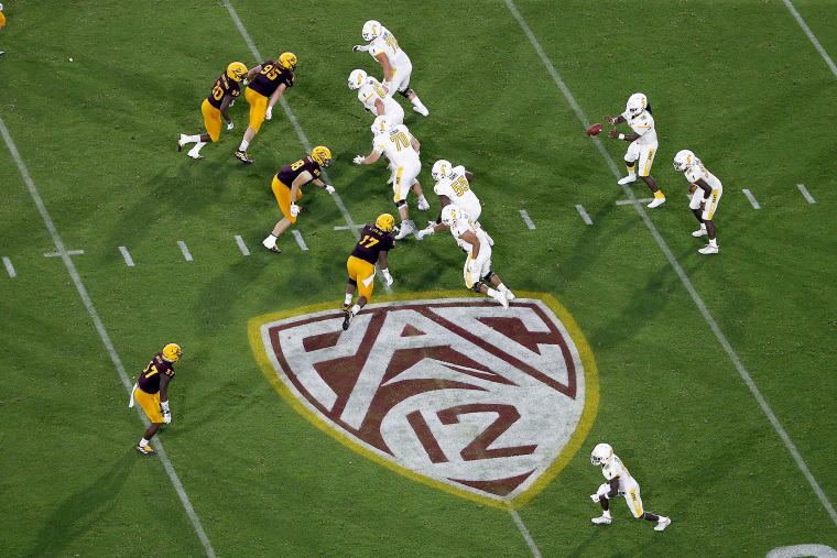 The Pac-12 logo during the second half of an NCAA college football game between Arizona State and Kent State, in Tempe, Ariz. on Aug. 29, 2019.