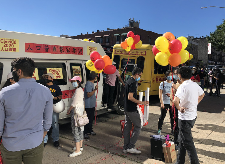 In September a car caravan drove through New York's Sunset Park, which is home to many Chinese immigrants, to promote the census.