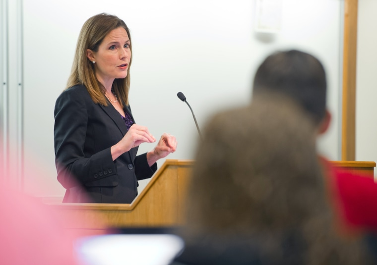 Amy Coney Barrett teaches at Notre Dame Law School on April 11, 2013.