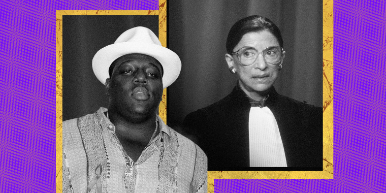 Image: Notorious BIG and Ruth Bader Ginsburg in gilded frames on a purple background.