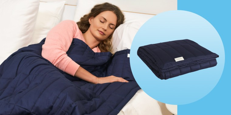 woman sleeping with casper weighted blanket