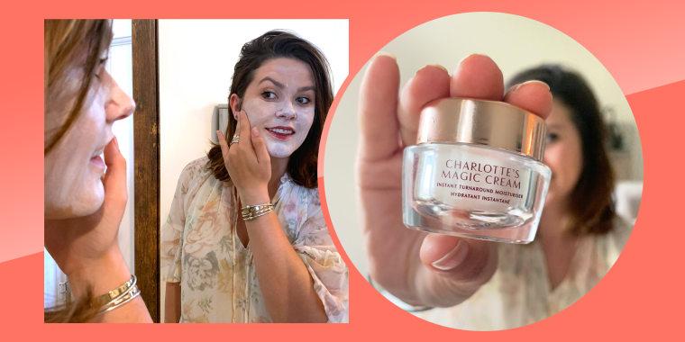 woman applying charlotte magic cream