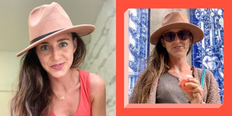 woman wearing tan fedora hat