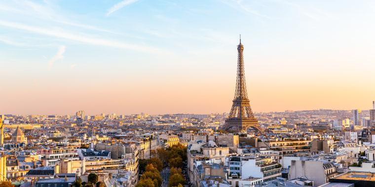 Paris cityscape with Eiffel Tower at sunset, Ile-de-France, France