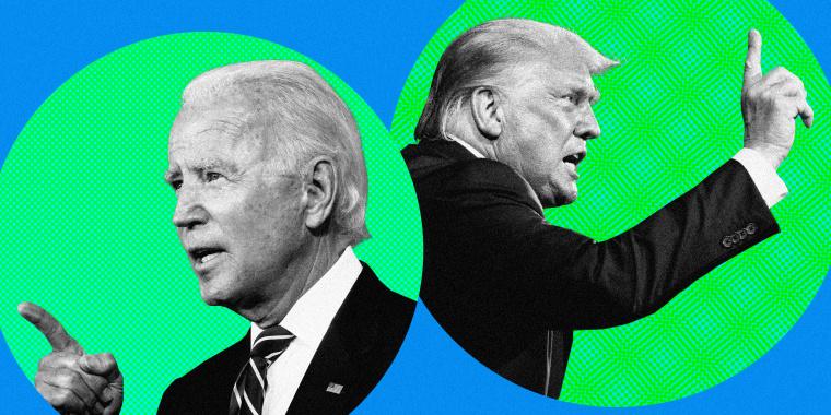 Image: Joe Biden and President Donald Trump gesture inside green circles on a blue background.