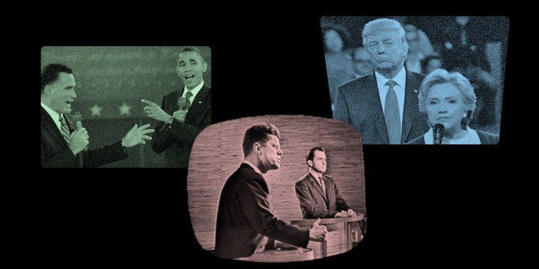 Presidential debates, from left, Mitt Romney and Barack Obama, John F. Kennedy and Richard Nixon, and Donald Trump and Hillary Clinton.