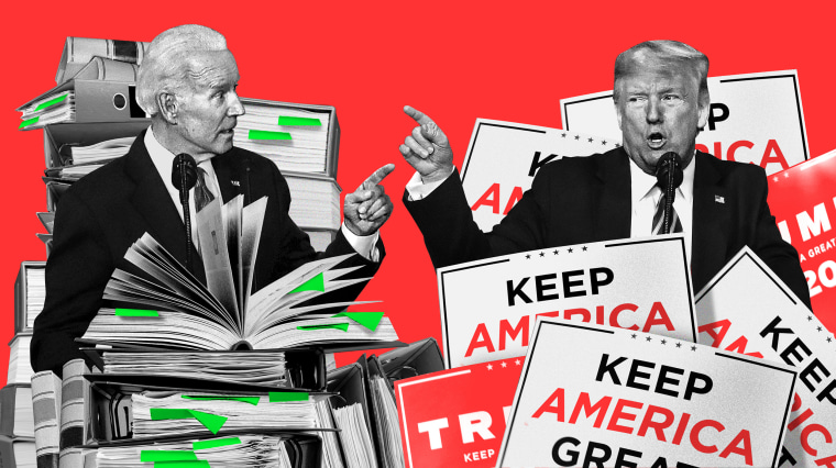 Image: Joe Biden stands at a podium surrounded by text books; President Donald Trump stands next to him surrounded by MAGA signs.