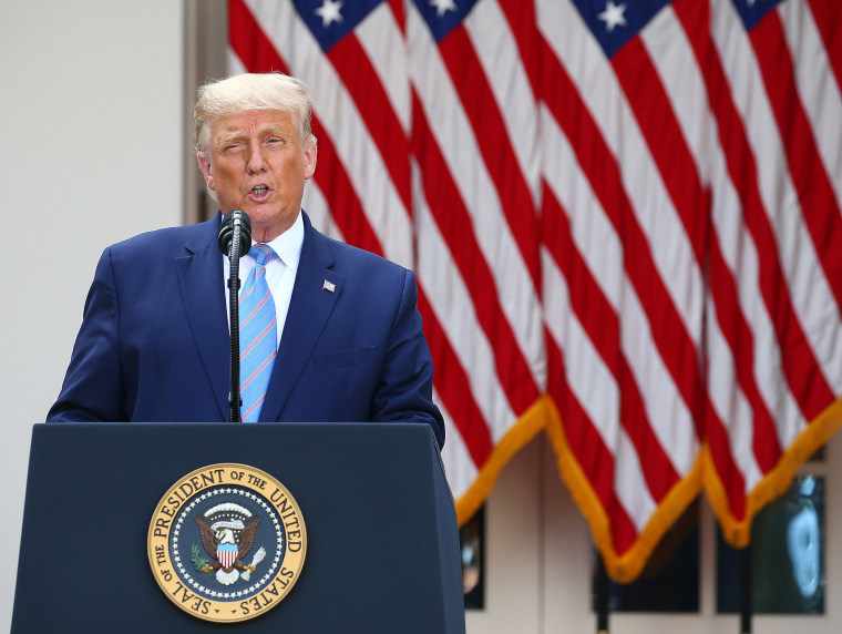 Image: President Donald Trump  during a press conference in the Rose Garden of the White House