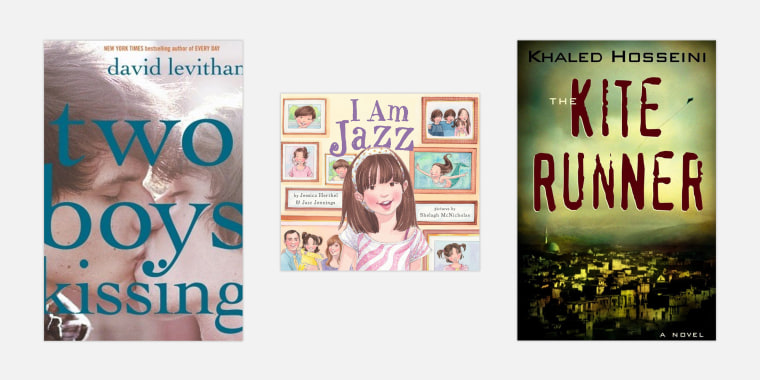 """""""Two Boys Kissing"""" by David Levithan; """"I Am Jazz"""" by Jazz Jennings and Jessica Herthel; """"The Kite Runner"""" by Khaled Hosseini."""
