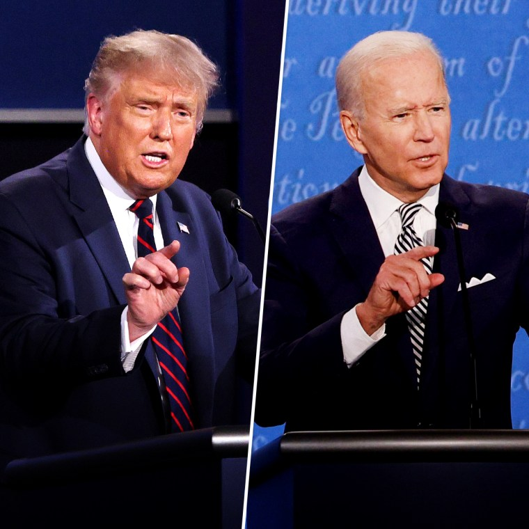 Image: President Donald Trump and Joe Biden during the first presidential debate in Cleveland on Sept. 29, 2020.