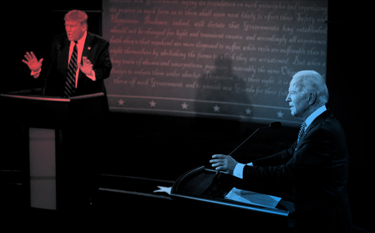 Image: President Donald Trump and Joe Biden speak during the first presidential debate in Cleveland on Sept. 29, 2020.
