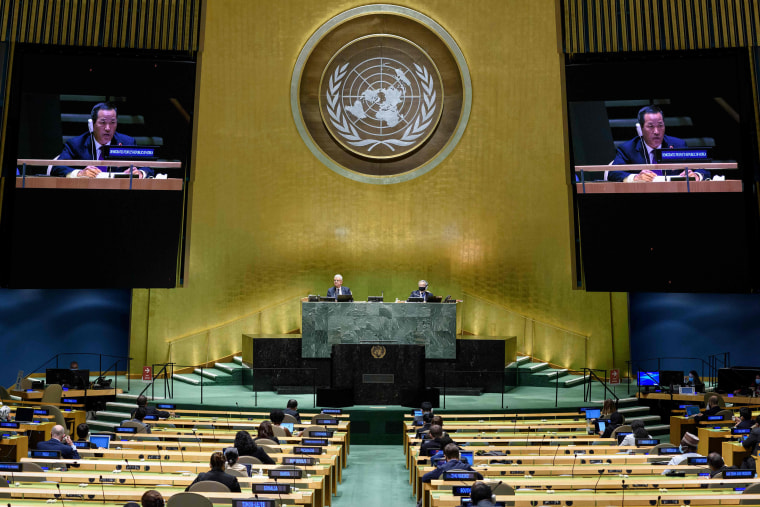 Image: Kim Song, Permanent Representative of the Democratic People's Republic of Korea to the United Nations, as he addresses the general debate of the 75th session of the United Nations General Assembly,
