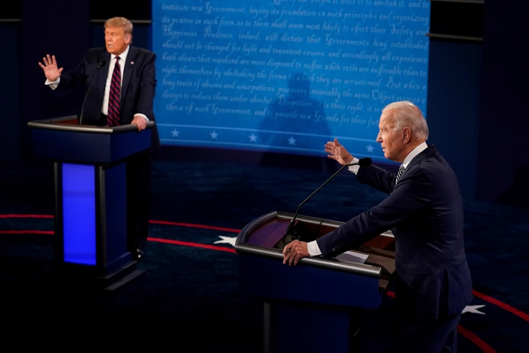 Image: President Donald Trump and Democratic presidential nominee Joe Biden participate in their first 2020 presidential campaign debate held on the campus of the Cleveland Clinic at Case Western Reserve University in Cleveland, Ohio