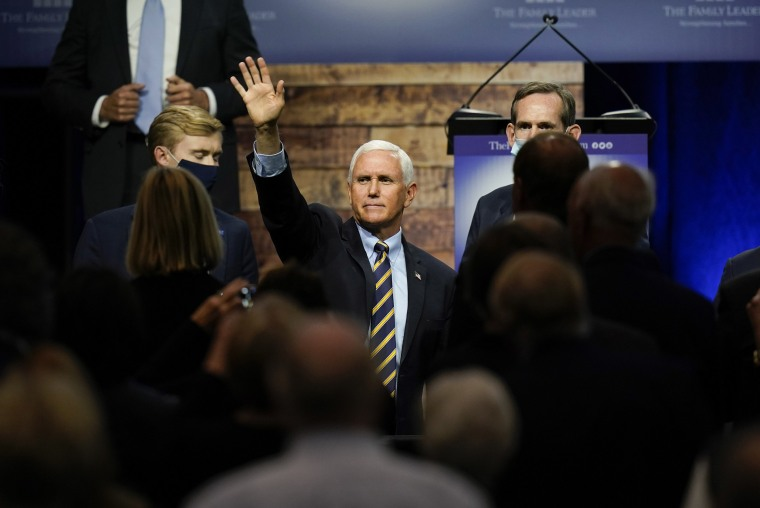 Image: Vice President Mike Pence waves to supporters after speaking at an event hosted by The Family Leader Foundation