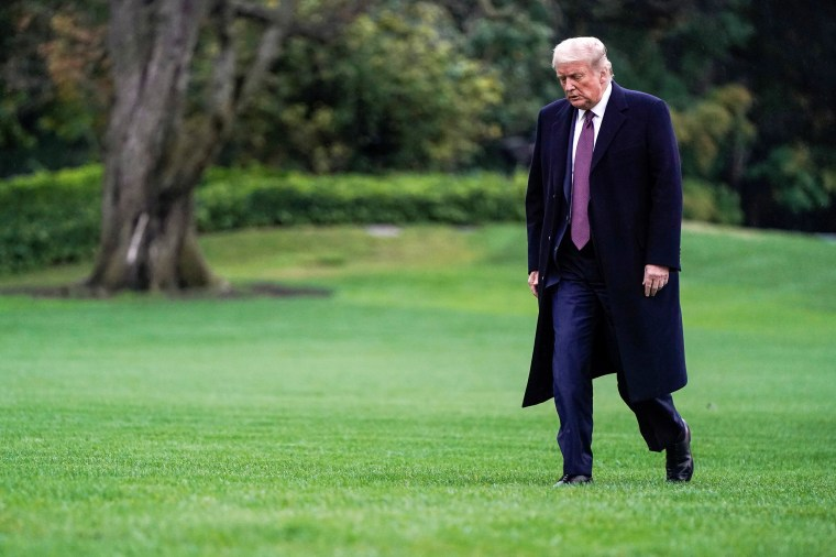 Image: President Donald Trump walks from Marine One as he returns from Bedminster, New Jersey, on the South Lawn of the White House