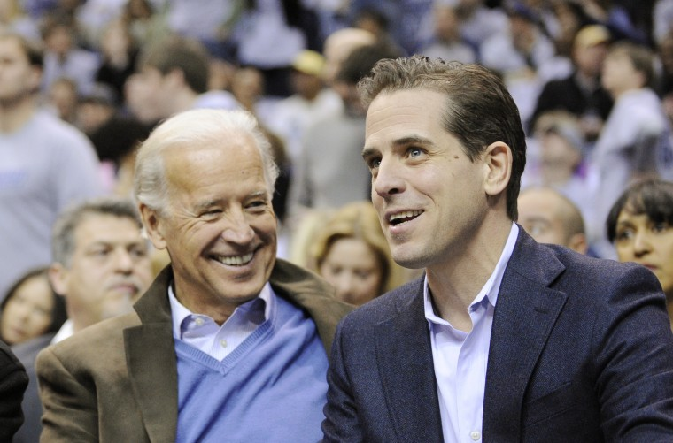 Vice President Joe Biden and his son Hunter Biden at basketball game in 2010.