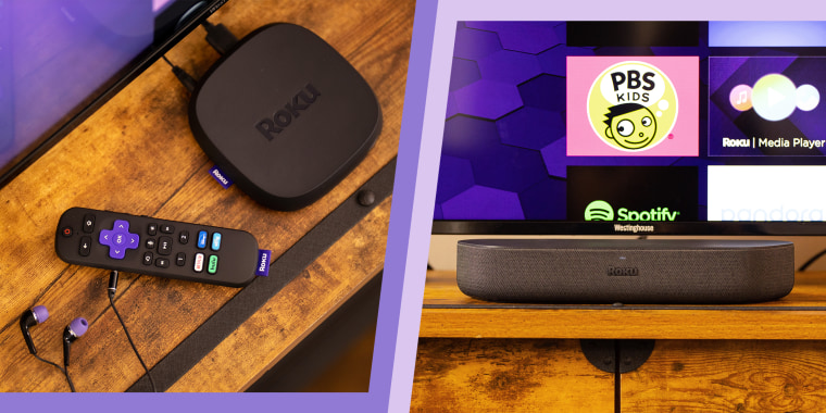 roku ultra and streambar speaker in front of tv