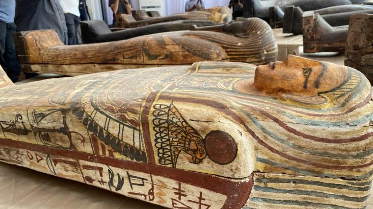 A sarcophagus at the burial site near Egypt's Saqqara necropolis in Giza.